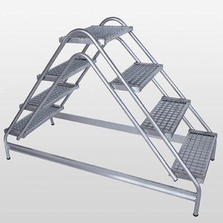 Günzburger Steigtechnik Alu Arbeitspodest beidseitig begehbar | Stahl-Gitterrost