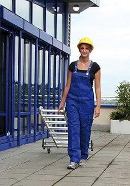 Günzburger Steigtechnik Alu Vielzweckleiter 4-teilig mit rollbar-Traverse