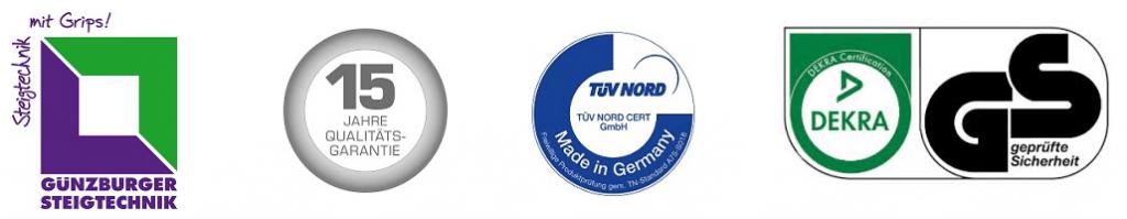 Günzburger Steigtechnik Aluminium Stufenstehleiter einseitig logo