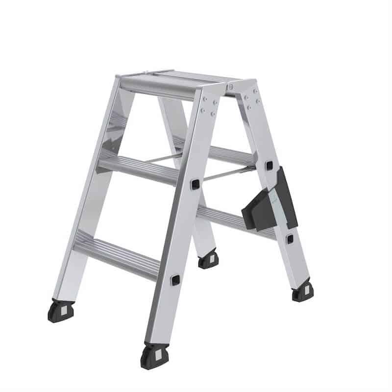 2,25 m Aluminium-Stufen-Stehleiter beidseitig begehbar 2 x 3 Stufen Arbeitsh/öhe bis ca