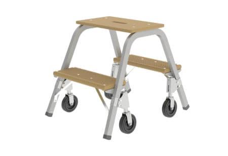 Günzburger Steigtechnik Stahl-Holz-Tritt mit Brems-Bockrollen