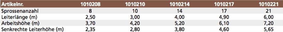 euroline Holz-Anlegeleiter Nr.10102-uebersicht