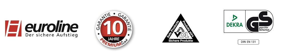 euroline Alu-Stufenstehleiter mit großer Standplattform logo
