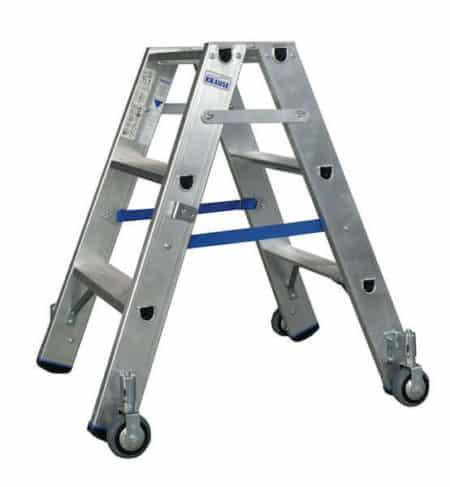 Krause Stabilo Stufen-DoppelLeiter - fahrbar