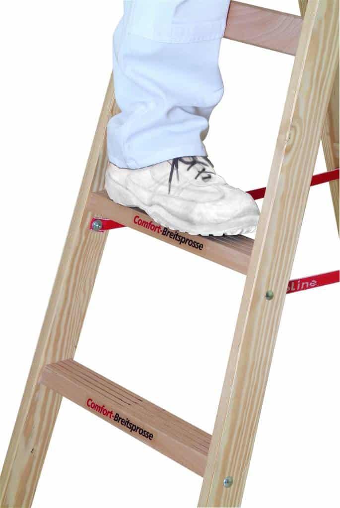 euroline holzleiter mit comfort breitsprosse mein rollger st. Black Bedroom Furniture Sets. Home Design Ideas